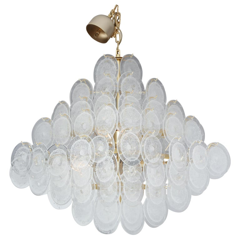 Italian Murano Venini Disc Chandelier in Polyhedral Shape For Sale