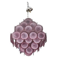 Violet Murano Glass Disc Chandelier in Double Pyramid Shape