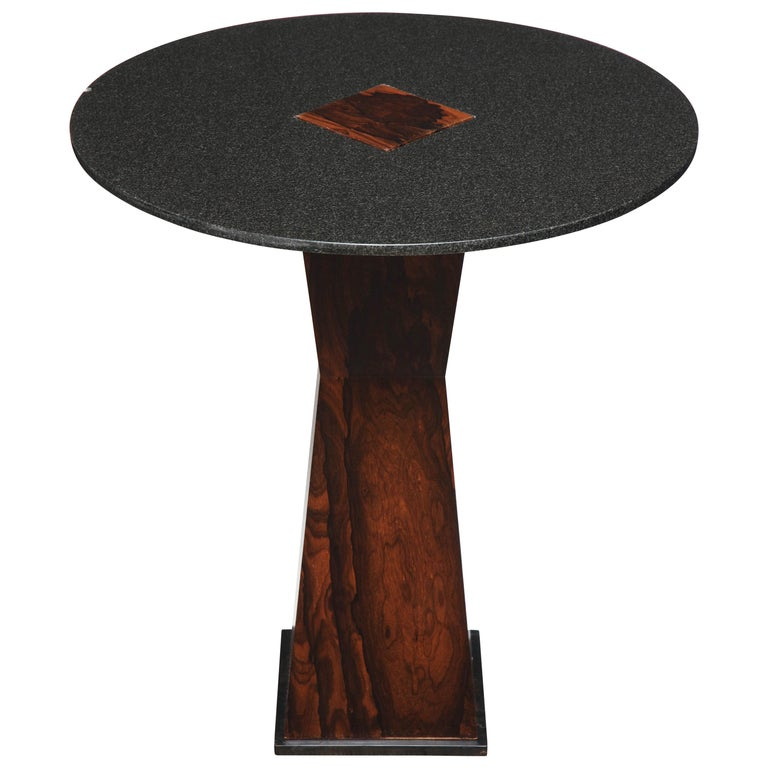 Absolute Black Granite Side Table with Sculptural Wood Base