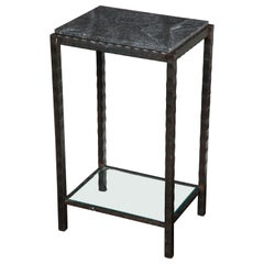 Dazzling Granite Side Table in Hammered Steel Frame