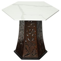 Carrara White Marble Side Table with Patinated Blackened Steel