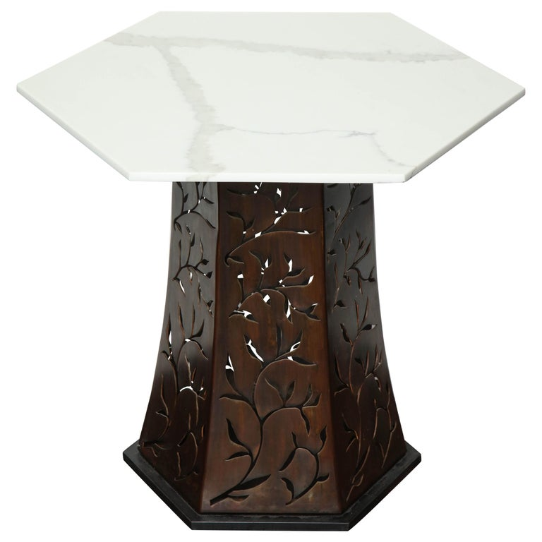 Carrara White Marble Side Table with Patinated Blackened Steel For Sale