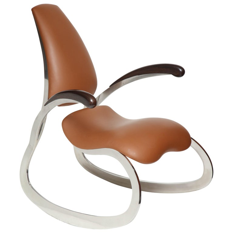Organic Body Rocking Chair with Dynamic Curving Steel Frames For Sale