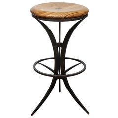 Zebra Wood Bar Stool with Patinated Blackened Steel