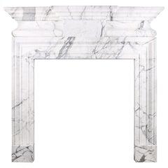Grand Mid-18th Century Baroque Bolection Fireplace Mantel Shelf Statuary Marble