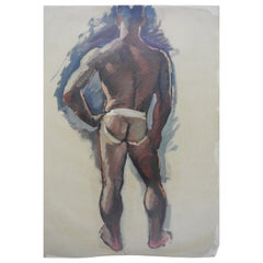 Robert Whitmore Oil Painting on Canvas of Partially Nude Male
