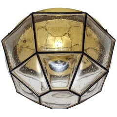 German Vientage Iron and Blown Glass Ceiling or Wall Flush Mount 1960s