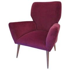 Midcentury Purple Color Velvet Italian Armchair, 1950