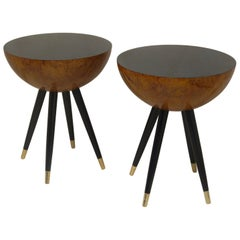 Pair of Art Deco Round Black Wood and Brass Italian Side Table, 1930