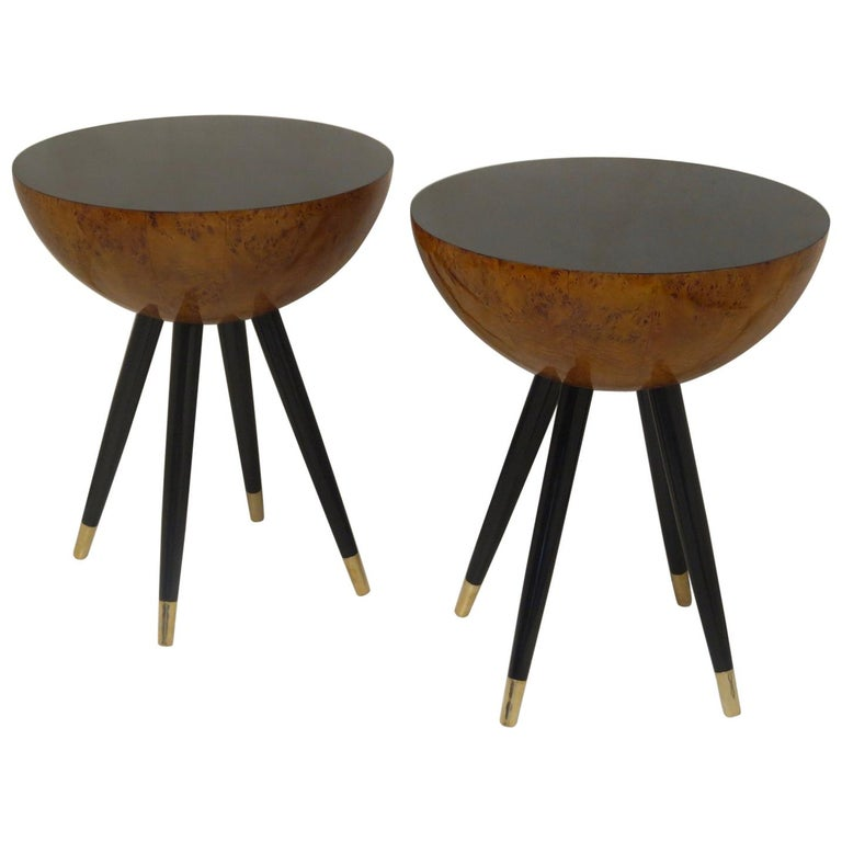 Pair of Art Deco Round Black Wood and Brass Italian Side Table, 1930 For Sale