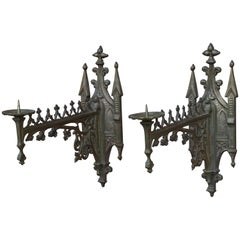 Rare Pair of Gothic Revival Bronze Wall Candle Sconces From a Church / Monastery