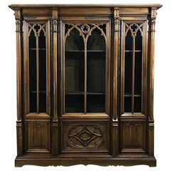 19th Century Gothic Walnut Triple Bookcase