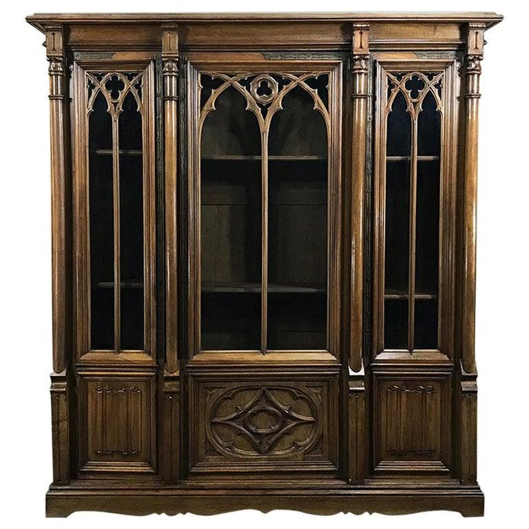 19th Century Gothic Walnut Triple Bookcase