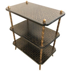 Rich Black and Gold 3-Tier Italian Painted and Brass Side Table