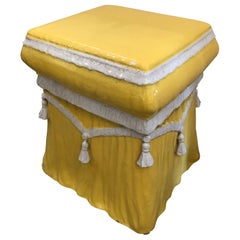 Super Stylish Sunny Yellow and White Ceramic End Table Garden Seat with Tassels