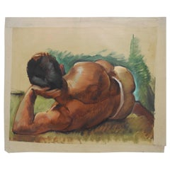 "Robert Whitmore ""Male at Rest"" Oil Painting Early 20th Century"