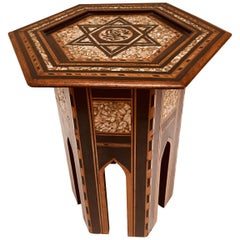 19th Century Ottoman Moorish Table Inlaid with Mother-of-Pearl
