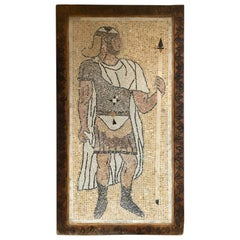 Micro Mosaic Tile Wall Plaque or Table Top of a Centurion in Wood Frame