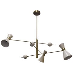 "Italian Modern ""Campana"" Three-Arm Pendant in White Enamel, Blueprint Lighting"
