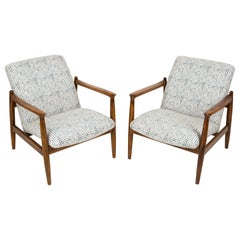 Pair of White and Aqua Vintage Armchairs, Edmund Homa, 1960s