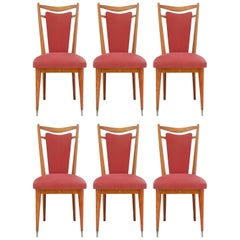 Six Midcentury Dining Chairs French Upholstered Easy Recover