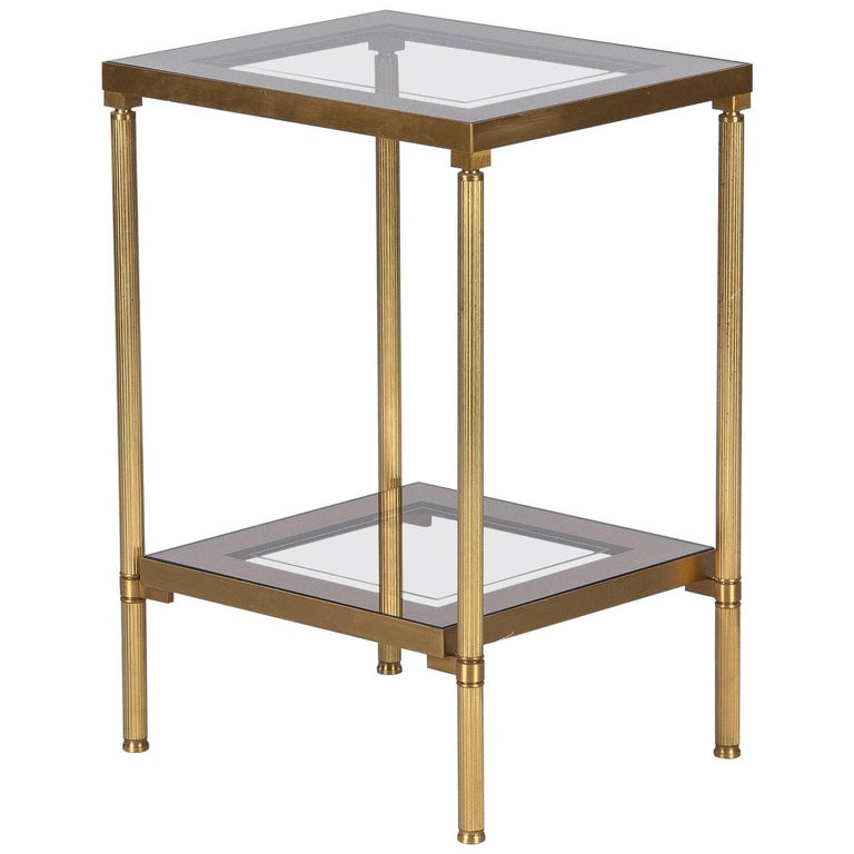 Midcentury French Two-Tier Brass and Glass Side Table, 1950s