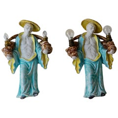 Italian Ceramic Figural Wall Sconces