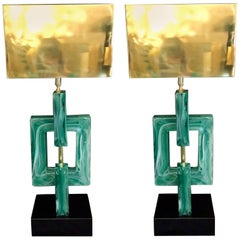Pair of Emerald Green Murano Table Lamps Brass Lampshades, 1970s