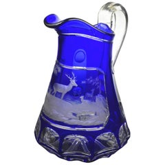 19th Century Bohemian Blue Cut Overlay Art Glass Pitcher with Engraved Deer