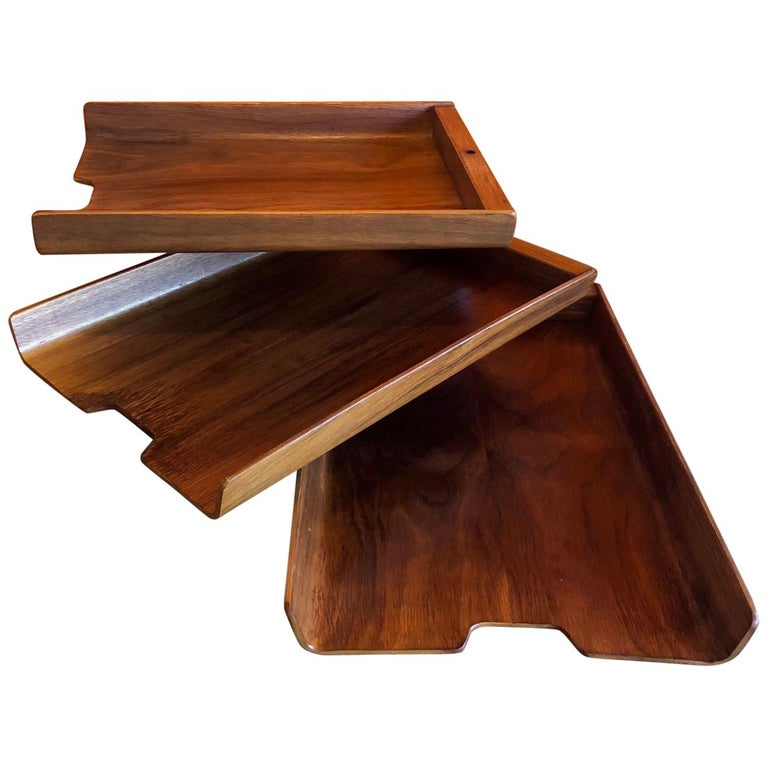 Molded Teak Plywood Triple Letter Tray by Martin Aberg for Rainbow of Sweden