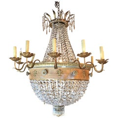 Antique French 19th Century Wood, Bronze and Crystal Empire Chandelier