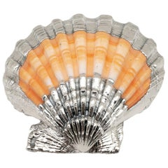 Partially Silvered Pecten Shell- Made in Rome, Italy