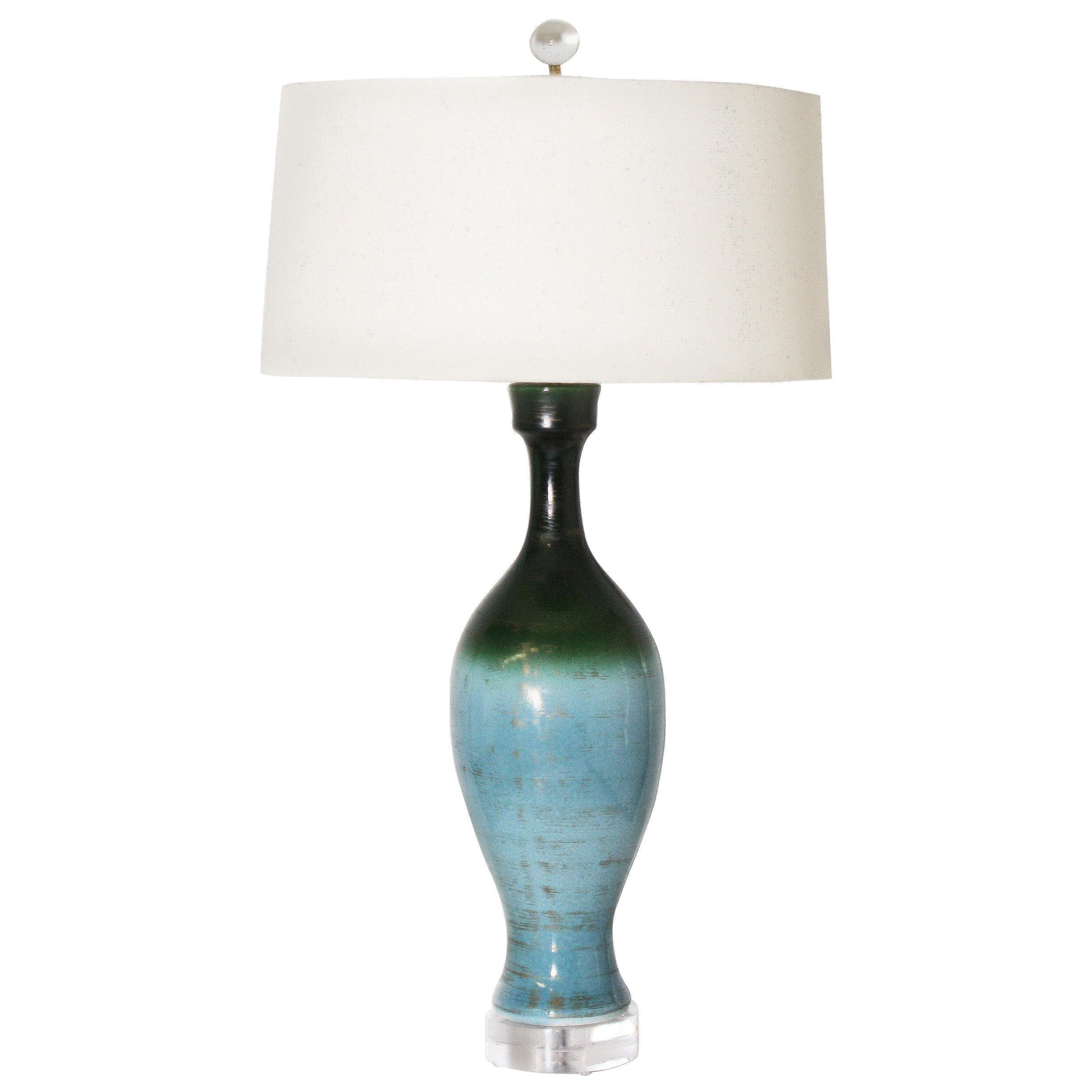 Ombre Glaze Urn Lamp, Circa 1960