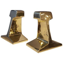 Vintage Railroad Tie Bookends, Restored in Mirror-Polished Brass