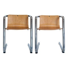 Kinetics Child Chair Pair in Molded Plywood and Chrome, Vintage, Canada, 1970s