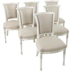 Set of Six Midcentury French Directoire Style Painted Dining Side Chairs, Linen