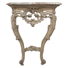 19th Century French Louis XV Stripped Marble Top Console