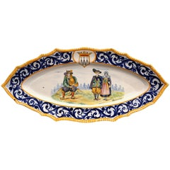 Large Mid-20th Century French Hand-Painted Oval Faience HB Quimper Wall Platter