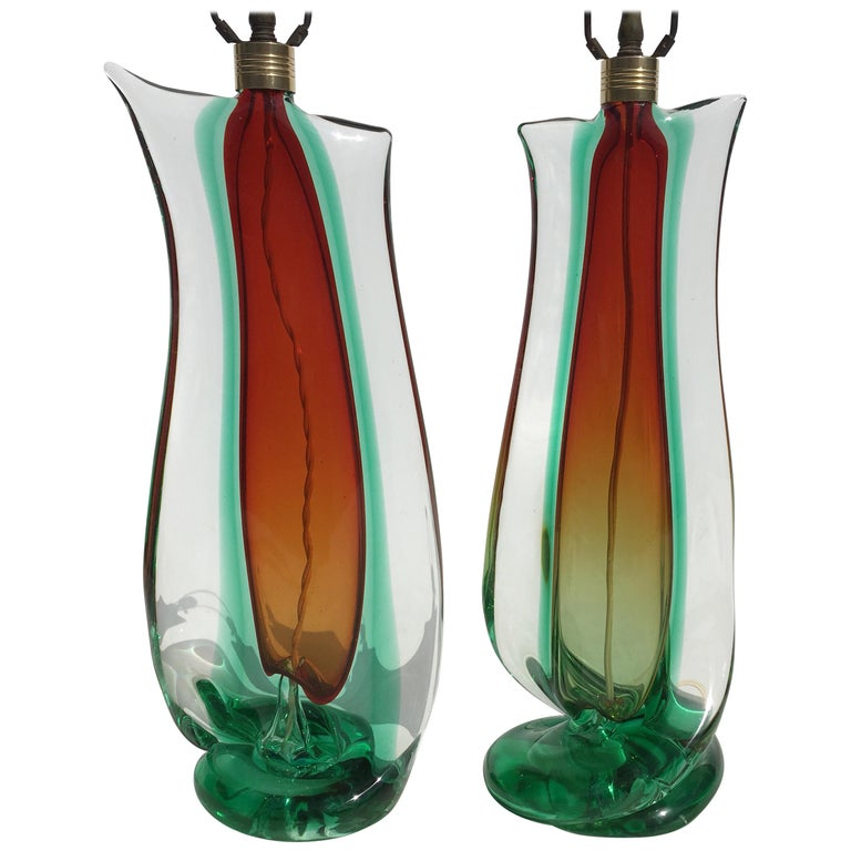 Large Flavio Poli Table Lamps for Seguso Murano Glass, Italy For Sale