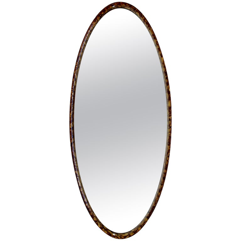 Mid-Century Modern Hollywood Regency Large Oval Wall Mirror by La Barge, 1960s