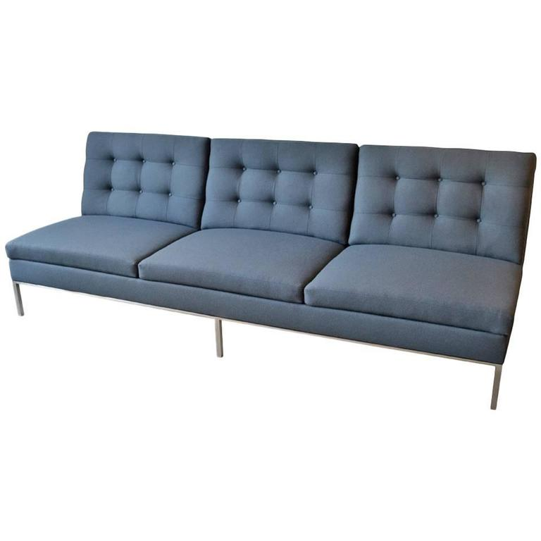 Florence Knoll Sofa With Stainless Steel Frame And Charcoal Knoll Fabric,  1960s 1