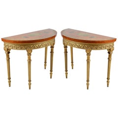 Near Pair Satinwood Sheraton Style Card Tables, circa 1880