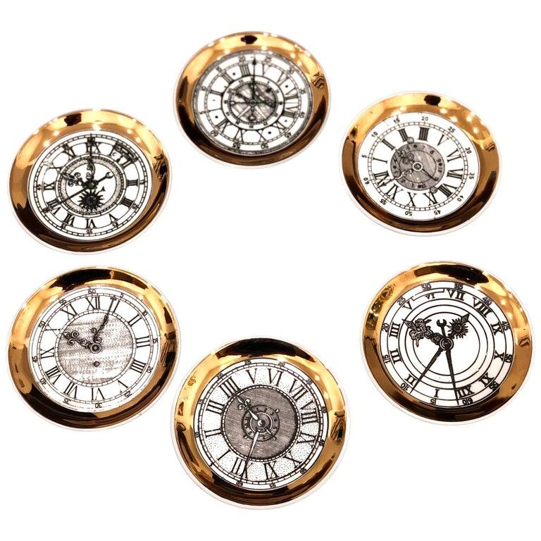 Set of Six Italian Fornasetti Style Bucciarelli Porcelain Coasters