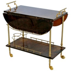 Deco Modern Aldo Tura Goatskin Lacquered Brass Bar Cart Hollywood Regency 1960s