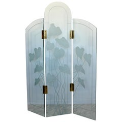 Mid-Century Modern Etched Glass & Brass 3 Panel Room Divider Screen 1960s