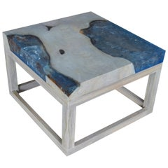 Andrianna Shamaris Ice Blue Resin Side Table or Coffee Table