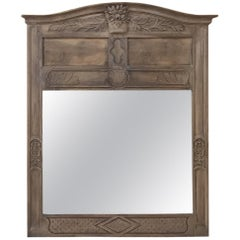 19th Century Country French Stripped Walnut Mirror