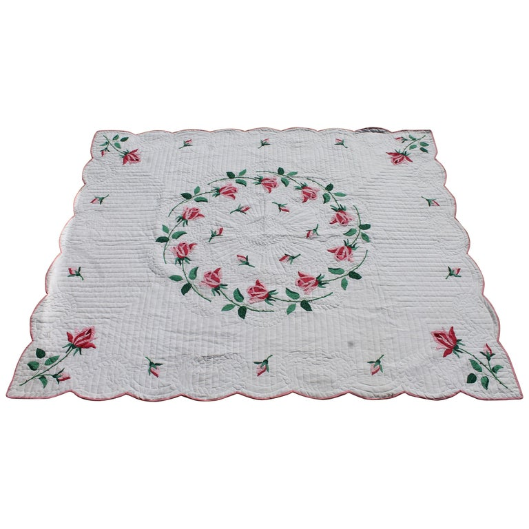 Antique Quilt, Midcentury Rose Applique Quilt