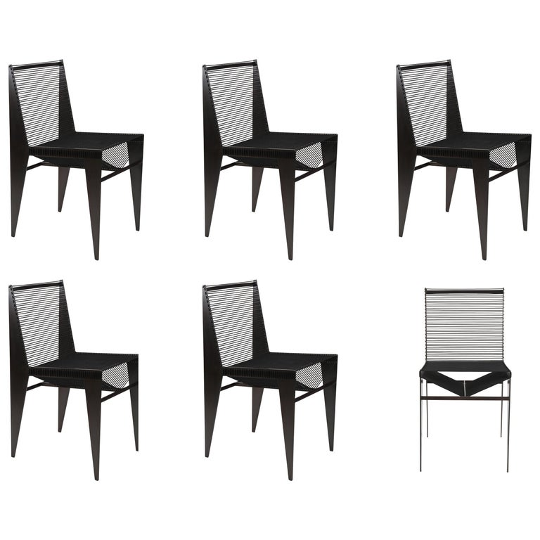 Set of Six Icon Chairs in Steel and Rope by Christopher Kreiling, Contemporary For Sale