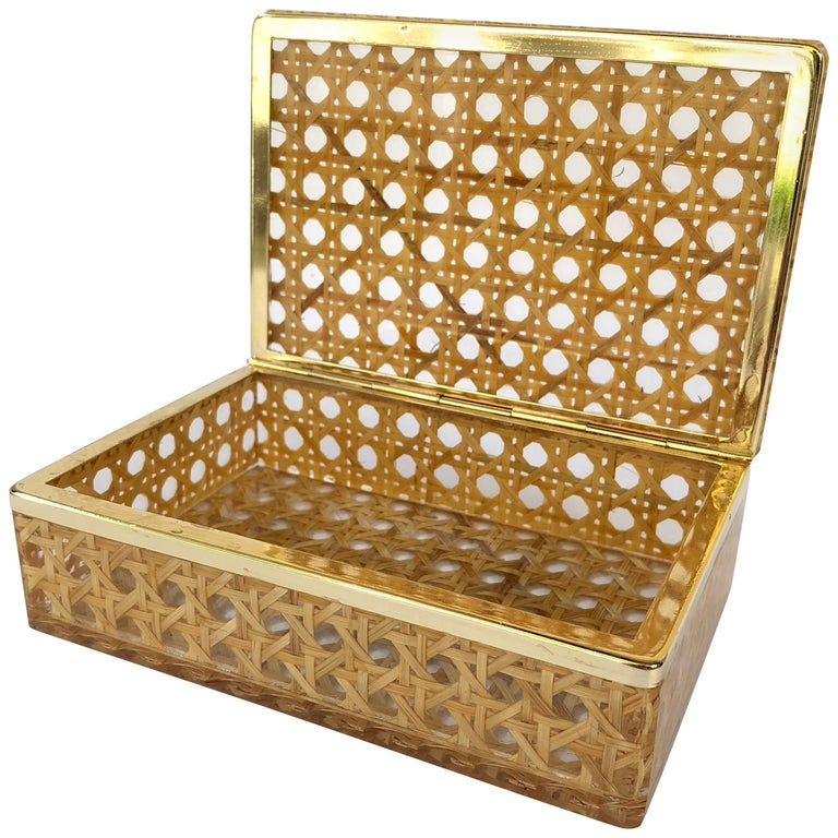 Box in Lucite, Wicker and Brass in Christian Dior Style, 1970, France